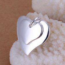 """Pendant 18"""" Link Chain Necklace #Ne133 Womens 925 Sterling Silver Double Heart"""