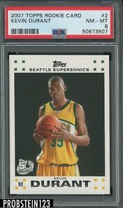 2007 Topps Rookie Card #2 Kevin Durant Seattle Supersonics RC PSA 8 NM-MT