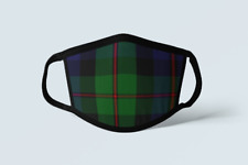 Black Watch Tartan Face Mask Scottish Plaid Covering Blue Green Polyester Mask