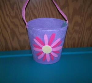 Easter Jubilee Lavender with Pink Flower Felt Basket ~Any Occasion~Easter Basket