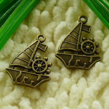 free ship 30 pieces Antique bronze sailing boat charms 29x22mm #2836