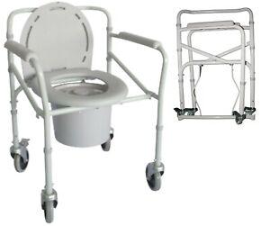Toilettenstuhl WC-Stuhl Toilettenhilfe Nachtstuhl Duschstuhl mit Rollen klappbar