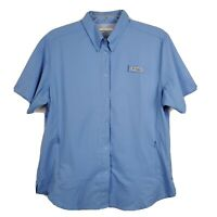 Columbia Womens L PFG Omni Shade Wick Vented Fishing Outdoor Snap Shirt Blue