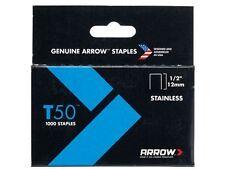 Arrow-T50 Grapas De Acero Inoxidable 508ss 12mm (1/2 In) Caja 1000