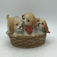 Vintage Homco Masterpiece Porcelain Puppies In A Basket Figurine 1990