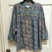 Dress Barn 3x top Button Front Shirt 3/4 Sleeve Paisley
