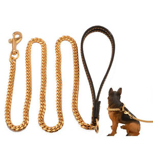 10mm Pet Dog Steel Traction Rope Training Chain Cuban Chain Leather with Handle