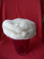 New listing Vintage Hat Pill Box Style Beige Natural Mink Fur Paisley Pattern Lining