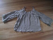LADIES CUTE BROWN RAYON PART OPEN 3/4 SLEEVE TOP BY REFUGE - SIZE 16/18 - CHEAP