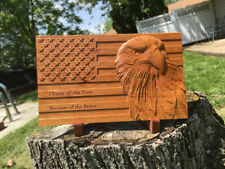 Personalized 3D Eagle Wooden American Flag Sign Handmade