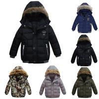 Baby Boys Coat Children Winter Jacket Outwear Kids Jacket Warm Hooded Clothes KT
