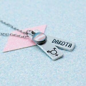LGBT Bright Transgender Necklace, Personalised, Gay Pride, Pendant Necklace