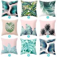 Tropical Floral Cotton Linen Cushion Cover Plant leaves Pillow Case Home Decor