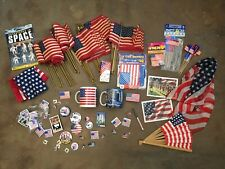 Assorted 4th of July & 911 Patriotic Usa Flags, Pins, Cups, Paraphernalia ~ Lot