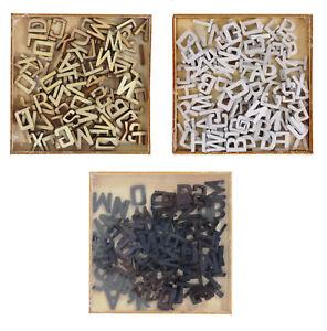 104 Wooden Letter Embellishments 15mm Alphabet Craft Scrapbooking 3 Colours 0365