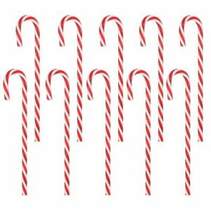18 Pcs Christmas Candy Cane Pathway Markers Lawn Stake Xmas Home Yard Decoration