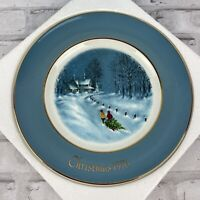 Avon 1976 Christmas Collector Plate Bringing Home The Tree 3rd Edition Wedgwood
