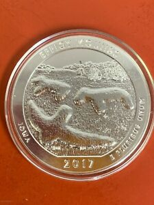 2017  America The Beautiful 5oz Silver Coin Effigy Mounds Iowa No box or COA
