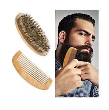 SETBürste + Kamm Bart Holz Bartpflege Bartbürste Mustache Wildschweinborsten