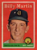 1958 Topps #271 Billy Martin GOOD+ WRINKLE PAPER LOSS Detroit Tigers FREE SHIP