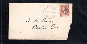 1886 Fancy Cancel Hydeville, Vermont Oct. 21st, Sc#210 to Proctor, Vt.