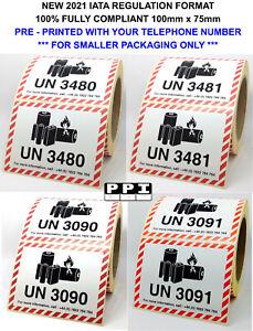 Lithium Ion Metal Battery Hazard Labels 100x75 UN 3480 3481 3090 3091 WITH TEL