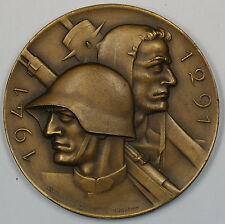 1941 Switzerland Bronze World War II 650th Anniversary of Swiss Army Medal JA