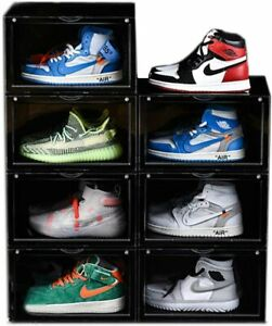 Magnetic Shoe Storage Box Drop Side/Front Sneaker Case Stackable Container XL