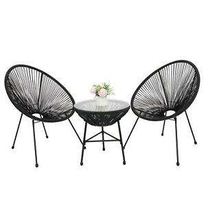 3-Piece All-Weather Patio Acapulco Bistro Furniture Set Coffee Side Table Chairs