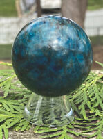 190.4g AWESOME BLUE/GREEN APATITE MINERAL CRYSTAL HEALING SPHERE Reiki  NORWAY