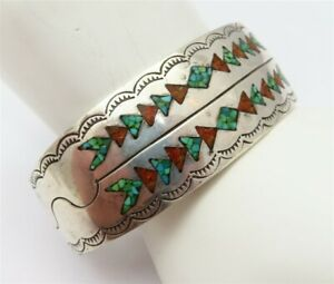 Native American Sterling Inlaid Turquoise & Coral Stamped Pattern Cuff Bracelet