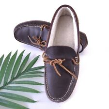 LL Bean Handsewn Men's Brown Leather Slippers Fleece Lined Hard Bottom Size 11