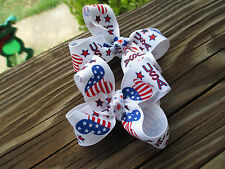 """Hair Bows a pair of Med 2"""" Red, White and Blue USA Mickey Grossgrain Hair Bow"""