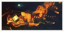 "Bradley Parrish North Pole Express Santa's Sleigh Christmas Holiday Card 9x5"""