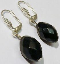 boucle d'oreille percée bijou vintage couleur argent perle olive verre noir 1715