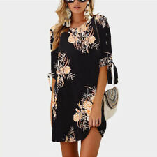 UK Womens Floral Long Tops Blouse Ladies Summer Beach Shirt Dress Plus Size 6-24