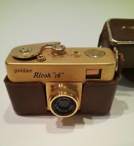1950's GOLDEN RICOH 16 SUBMINIATURE 16mm CAMERA W/CASE