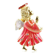 Gold and Rose Pink Angel Christmas Decoration Brooch Pin Xmas Gift BR237