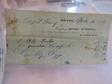 Original 1844 HENRY MERRITT Beef Tongues James Slip NYC New York City Billhead