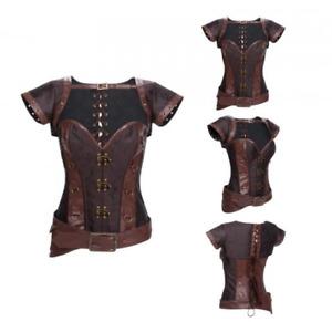 Steampunk Boned Corset Faux Leather Gothic Retro Warrior Jacket Costume Bustier