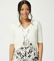 Isaac Mizrahi Live! Open Front Cropped Curved Hem Cardigan, Pearl, 1X, A353201