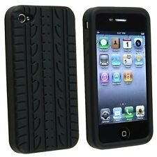 NERA Pneumatico BATTISTRADA SILICONE GEL CUSTODIA COVER per Apple iPhone 4/4 S