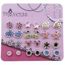 Pack of 12 Colour Crystal Magnetic Stud Earrings for Girls Kids B . Skyblue