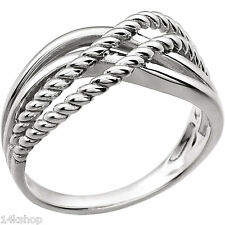 14K Solid White Gold Knot Crossover Design Sz 7 Ring Stunning