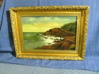 Antique Oil Painting Maine Coastline c.1910
