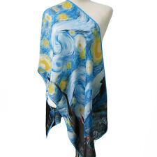 "Oblong 100% Silk Scarf Shawl Wrap Art Oil Painting Van Gogh's ""The Starry Night"""