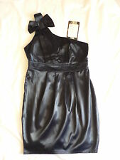 NEW PURE HYPE S DARK BLUE / BLACK DRESS SIZE 8 CLUB PARTY COCKTAIL ONE SHOULDER