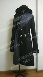 Custom Made Black Butler Kuroshitsuji Undertaker Black Cosplay Costume + Hat