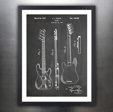 "FENDER 1951 BASS GUITAR POSTER Blackboard Patent Print 18x24"" Poster (unframed)"