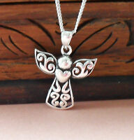 925 Sterling Silver Guardian Angel Embraces Heart Pendant Chain Necklace gift